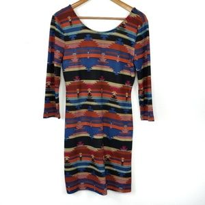 American Rag Cie Aztec Print Long Sleeve Dress NWT